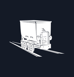 coal mine trolley on a black background vector image vector image