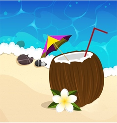 Coconut cocktail with straw and umbrella vector image vector image