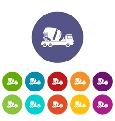 Concrete mixer truck set icons vector