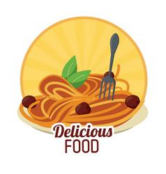 Delicious food pasta meatballs italian sticker vector