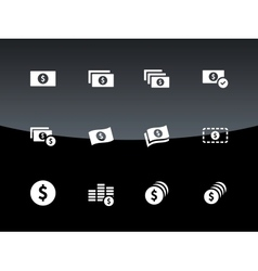 Dollar Banknote icons on black background vector image