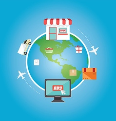 E-commerce shopping online all over the globe vector