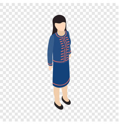 Female singaporean isometric icon vector