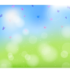 field flowers butterfly vector image