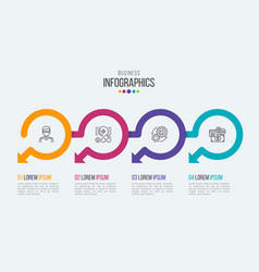 Four steps timeline infographic template with vector