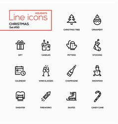 Holidays theme christmas - line design icons set vector