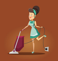 Housewife cleaning the house with vacuum cleaner vector
