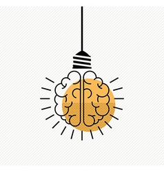 Human brain idea concept in modern line art style vector