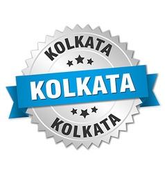 Kolkata round silver badge with blue ribbon vector