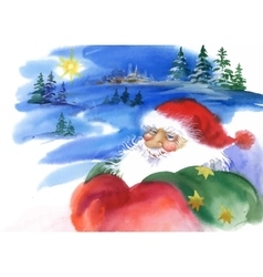 Merry christmas and new year card with santa claus vector