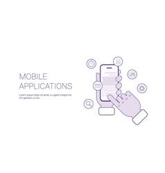 mobile applications business concept template web vector image vector image