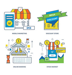 mobile marketing discount store online banking vector image vector image