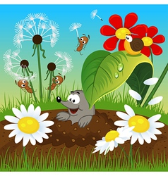 mole in the ground and insects vector image vector image