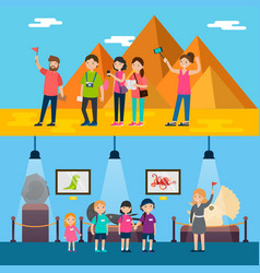 People on excursion horizontal banners vector