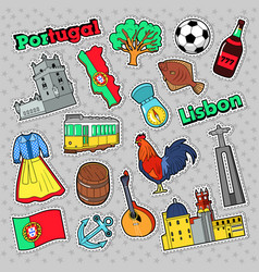 portugal travel elements with architecture vector image