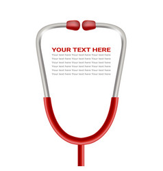 red phonendoscope stethoscope isolated on a white vector image