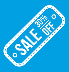 Sale tag 30 percent off icon white vector