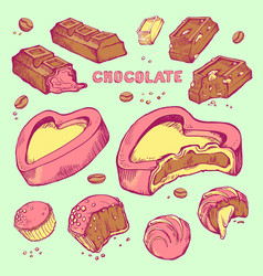 Set of colored sketches bitten chocolates vector
