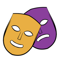 theater masks icon cartoon vector image