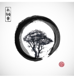 Tree in black enso zen circle vector image