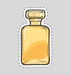 Yellow perfume flacon female odour cut it out vector