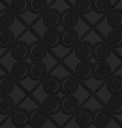 Black textured plastic swirls in square grid vector