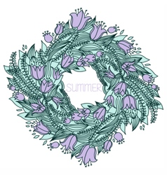 Hand drawn wreath with flowers vector