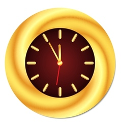Golden clock midnight midday isolated vector