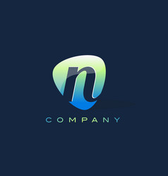 n letter logo oval shape modern design vector image