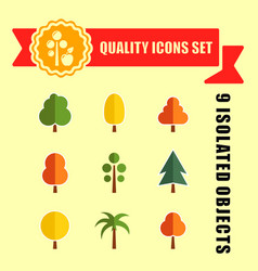 Tree set nine icons with red tape vector