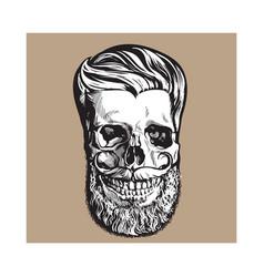 Hand drawn human skull with hipster hairdo beard vector
