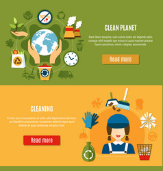 Green planet cleaning banners vector