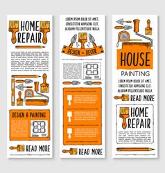 Home repair painting interior design banner set vector