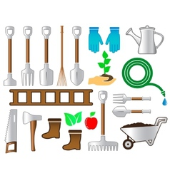 Set colorful tools for gardening landscaping vector