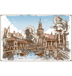 Vintage view of fish market canal in gouda vector