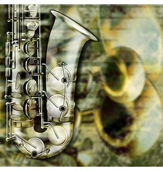 abstract grunge background with saxophone and vector image