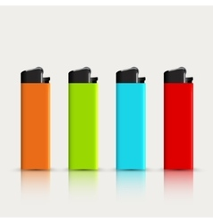 Set of colorful lighters with reflection vector
