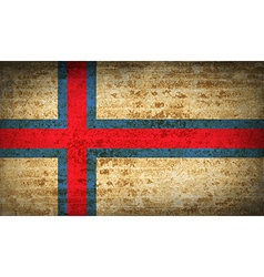 Flags Faroe Islands with dirty paper texture vector image