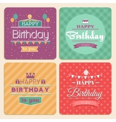 Happy birthday card set in retro design vector