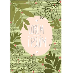 Tamplate card with green leaves and cowberry vector