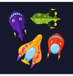 Four colorful spaceships vector