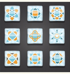 9 abstract logo shiny icons vector