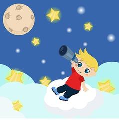 Cute boy watching through telescope at starry nigh vector