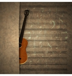 Musical background guitar on old sheet music vector