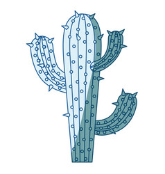 Blue shading silhouette of cactus of three vector