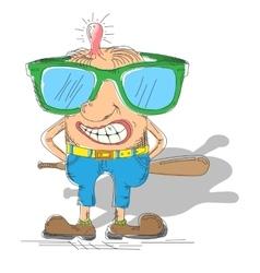 Cartoon hooligan with a baseball bat vector