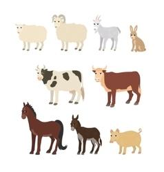 Cartoon set sheep goat donkey horse cow bull pig vector