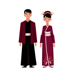 chinese people in national costumes dress and vector image