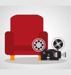 Cinema red chair comfortable film camera vector