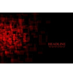 Dark red tech grunge squares background vector image